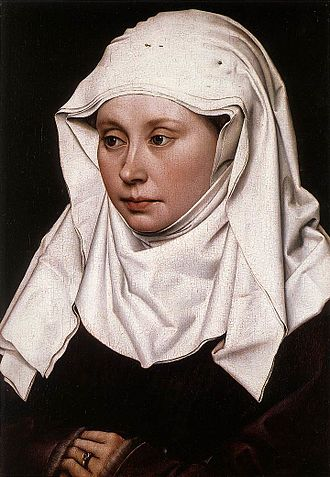 Wimple - A wimple as shown in Portrait of a Woman, circa 1430-1435, by Robert Campin (1375/1379–1444), National Gallery, London. The cloth is 4-ply and the pins holding it in place are visible at the top of the head