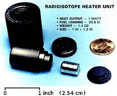RHU Photo of a disassembed RHU. RHUs use Pu-238 to generate about 1 watt of heat each.