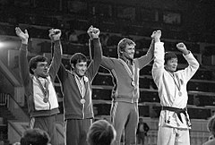 RIAN archive 103512 Soviet sportsman Nikolai Solodukhin, the 22nd Olympic judo champion, having won the competition.jpg