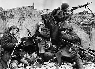 Soviet Union in World War II - Soviet soldiers at  Stalingrad during a short rest after fighting