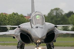 Infra-red search and track - Optronique secteur frontal (IRST) of the Dassault Rafale, below the cockpit and to the side of the refueling boom. On the left, the main IR sensor (100 km range), on the right a TV/IR identification sensor with laser rangefinder (40 km range)