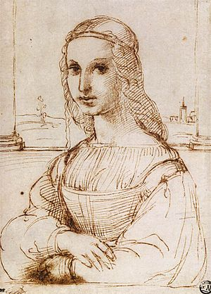 Mona Lisa - Raphael's drawing, based on the portrait of Mona Lisa
