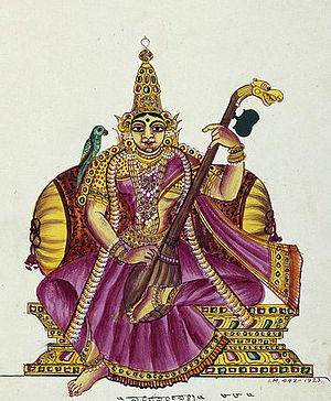 Matangi - As in this early 19th century South Indian painting, Raja-Matangi is usually depicted playing a veena and with a parrot in her company.
