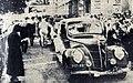 Rallye Monte Carlo 1937, arrivée au quai de Plaisance à Monaco de Mmes Rouault et Rodrigue, sur Matford.jpg