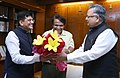 Raman Singh and the Minister of State for Power, Coal, New and Renewable Energy and Mines (Independent Charge), Shri Piyush Goyal meeting the Union Minister for Railways.jpg