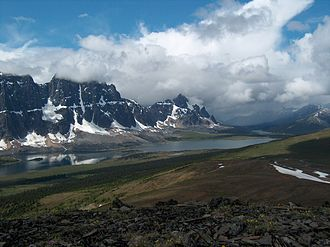 Tonquin Valley - The Ramparts and Amethyst Lake as seen from a ridge of Oldhorn Mountain