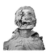 Bir mumyanın başı ve gövdesi, başın sağ tarafında bir baltanın neden olduğu uzun ve derin bir kesik vardır.