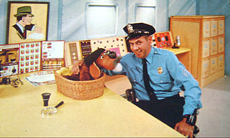 Ray Rayner - Rayner as Sergeant Pettibone, with Tracer puppet.