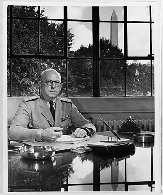 S-50 (Manhattan Project) - Rear Admiral Harold G. Bowen, Sr., at his desk at the Navy Department, Washington, D.C., during the World War II years.