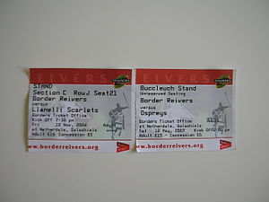 Border Reivers (rugby union) - Reivers ticket stubs