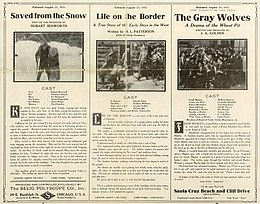 Release flier for SAVED FROM THE SNOW, 1911 ; LIFE ON THE BORDER, 1911 ; THE GRAY WOLVES, 1911.jpg