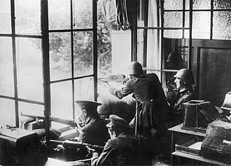 July 1936 military uprising in Barcelona - Soldiers and Assault Guards entrenched in a building