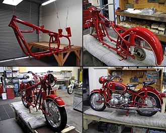 Conservation and restoration of vehicles - A BMW R60/2 motorcycle undergoing a frame-up concours restoration