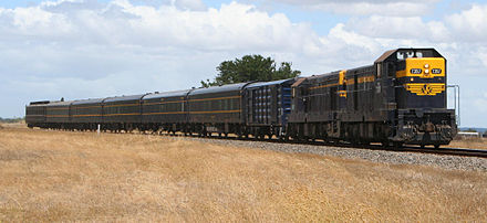 Heritage train in the Victorian Railways livery Restored victorian railways train.jpg