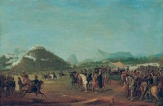 Revista das tropas destinadas a Montevidéu, na Praia Grande