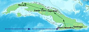 Battle of Santa Clara - Map of Cuba showing the location of the arrival of the rebels on the Granma yacht in late 1956, the rebels' stronghold in the Sierra Maestra, and Guevara's route towards Havana via Santa Clara in December 1958.