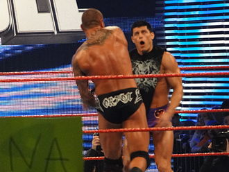 Royal Rumble (2010) - Randy Orton attacking Cody Rhodes, after Rhodes' interference resulted in Orton being disqualified during his WWE Championship match.