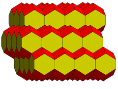 Part of a tessellation of space using rhombo-hexagonal dodecahedra