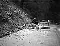 Rock slide near Temple of Sinawava rocks being removed from road with tractor and front end loader. ; ZION Museum and Archives (6ddf4626673945d38d031d4e0681f6da).jpg