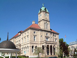 U.S. Route 33 - The Rockingham County Courthouse in Harrisonburg, Virginia, at the intersection of US 11 and US 33