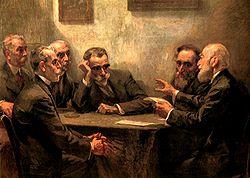 Γ. Ροϊλός, Οι ποιητές (π. 1919). Μεγάλοι ποιητές της γενιάς του 1880. Στο κέντρο: K. Παλαμάς.