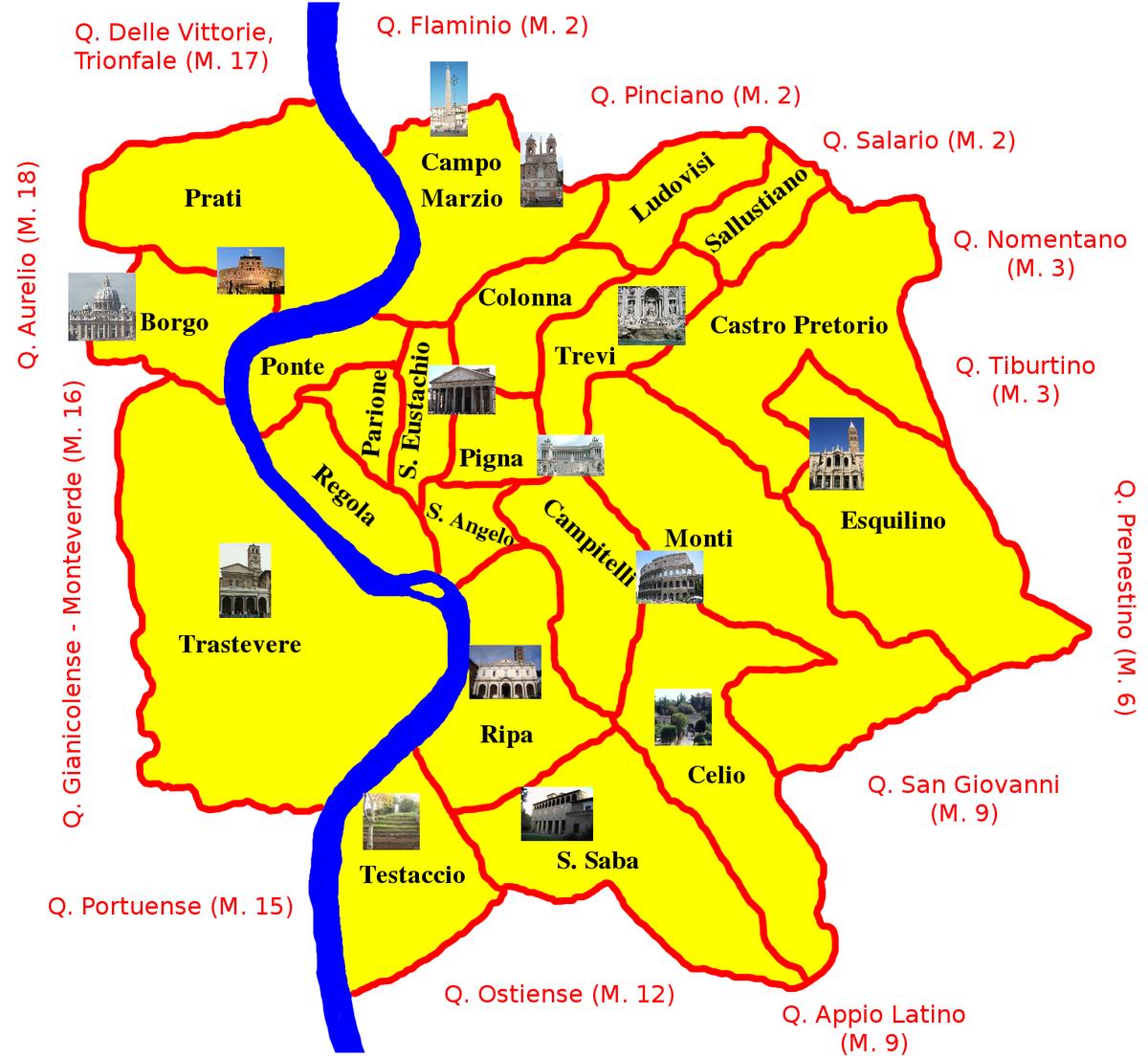 Figure 1. Map of 14 Rioni of Rome. Wikipedia.