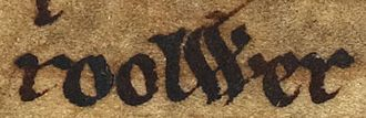 Roolwer - Roolwer's name as it appears on folio 50v of British Library Cotton MS Julius A VII (the Chronicle of Mann).