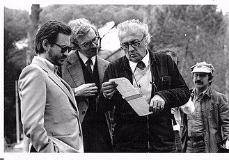Renzo Rossellini (producer) - From left. Renzo Rossellini, Daniel Toscan du Plantier and Federico Fellini on set of City of Women, 1979.