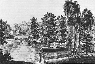 The Rousseau Island in the Grosser Tiergarten, early-19th-century engraving Rousseau-Insel im Tiergarten, um 1800, Stich von Muller.jpg