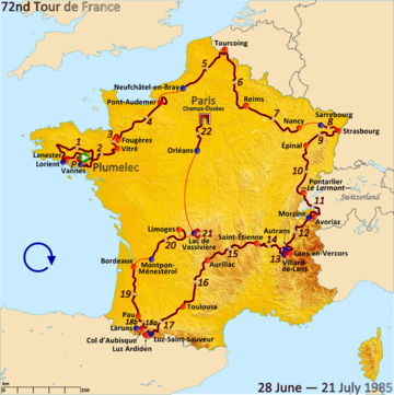 Map of France with the route of the 1985 Tour de France
