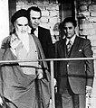 Ruhollah Khomeini enters Jamaran with Ghotbzadeh - 1980.jpg