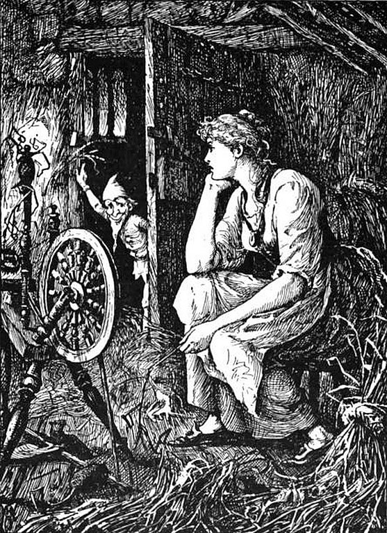 An image illustrating Rumpelstiltskin, one of the most famous tales of spinning in folklore.