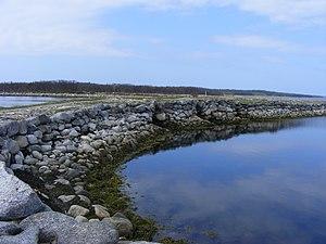 Bolshoy Solovetsky Island - A dam between Bolshoy Solovetsky and Bolshaya Muksalma islands.