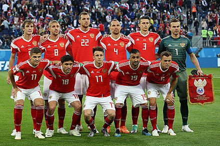 The Russia national football team at the 2018 FIFA World Cup in Russia Russia vs Egypt 2018.jpg
