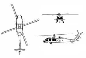 Orthographically projected diagram of the UH-60A Black Hawk