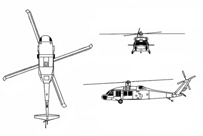 Sikorsky Uh 60 Black Hawk on electric area