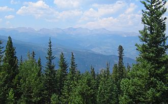 Colorado State Highway 103 - Looking northwest from near the summit of Squaw Pass.