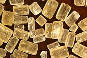 Brown sugar crystals.