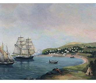 Raid on Lunenburg, Nova Scotia (1782) - Brigantine MA Hope (Herbert Woodbury) and Schooner MA Scammell (Noah Stoddard),  Raid on Lunenburg (1782) by A.J. Wright