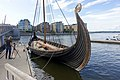 Saga Oseberg viking ship replica Tønsberg Norway Harbour havn Brygga pier dock Byfjorden Photographer Kaldnes footbridge gangbru Apartements etc View from 2019-08-25 DSC05036.jpg