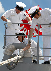 Sailors aboard JS Chōkai handle the mooring line, -29 May 2007 a.jpg
