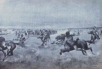 "A black and white copy of a painting by C. Taylor of the moving ""hollow box"" during the 8 hour, 15 mile combat by Captain Armes and Company F of the 10th US Cavalry."