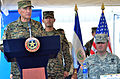 Salvadoran army Gen. Jose Atillio Benitez, left, Minister of Defense, speaks during the Beyond the Horizon (BTH) closing ceremony as U.S. Army Brig. Gen. Craig E. Bennett, commander of the New Hampshire Army 130618-A-PD481-732.jpg