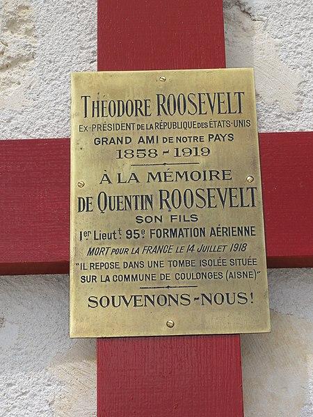 Sancy-les-Cheminots (Aisne) jardin de mémoire plaquette croix Quentin Roosevelt