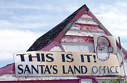 "Santa Claus Land sign. The ""office"" portion was added later.[1]"