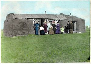 Sod house - Saskatchewan sod house, circa 1900