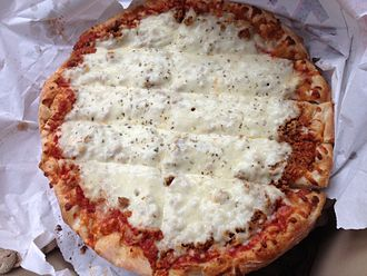 Quad City-style pizza - Sausage pizza from Fat Boy's Pizza of Davenport, Iowa.