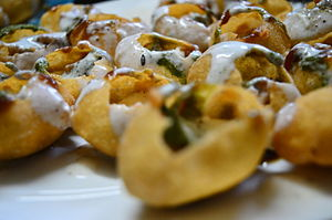 Dahi puri - Image: Savoury baskets of Fun 1