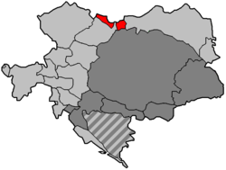 Austrian Silesia (shown in red) within Austria-Hungary until 1918