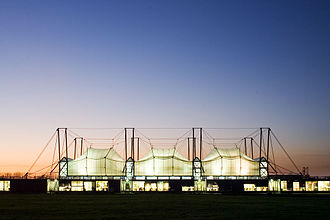 Hopkins Architects - The Schlumberger Cambridge Research Centre, opened in 1985, was one of Hopkins' earliest buildings and shows the Practice's distinctive use of a suspended, high-tech, fabric roof